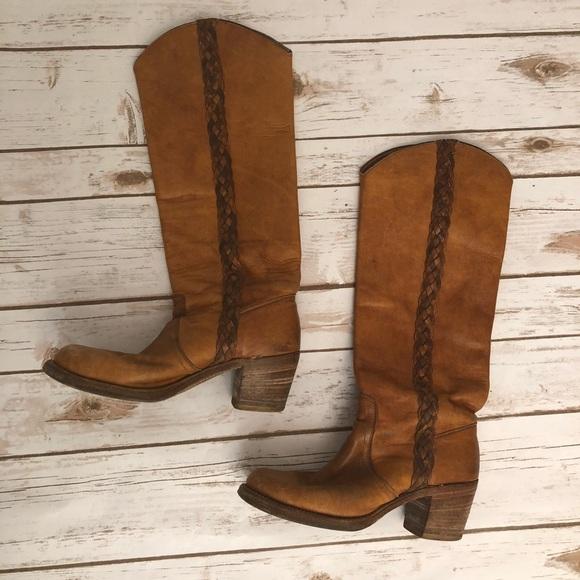 1d3de5e171f Frye Shoes - Vintage Frye Black Label Braided Campus Boots 7